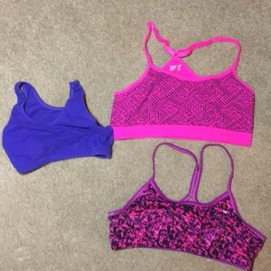 3 pre teen sports bras. Worn by a 10'year old
